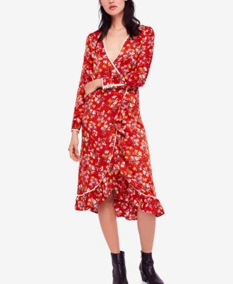 FREE PEOPLE $168 Womens New 1481 Red Floral Midi Wrap Dress 10 B+B