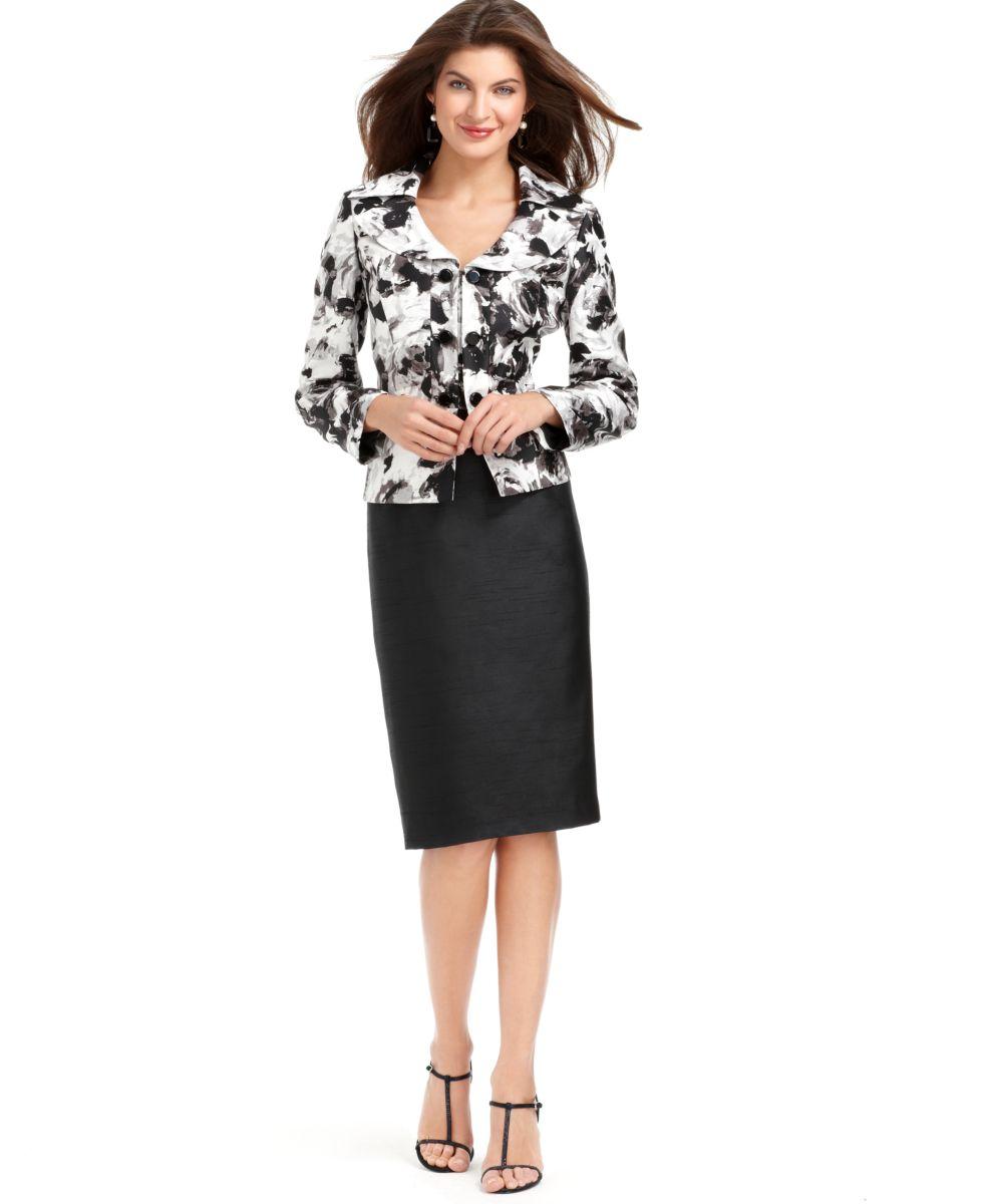 le suit new black white shantung printed jacket 2pc pencil