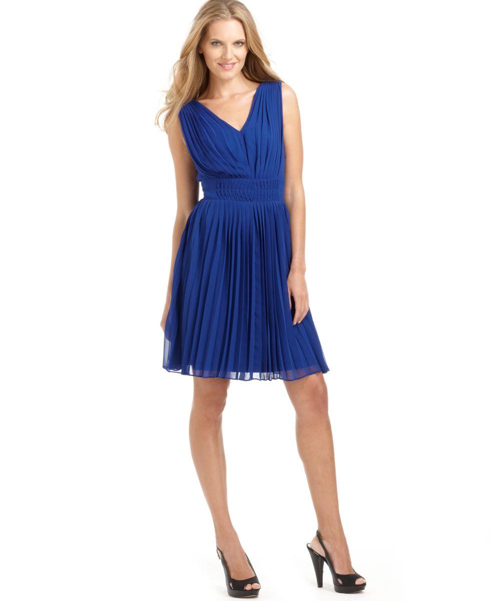 Macys Navy Blue Dresses: Calvin Klein NEW Blue Chiffon Pleated Double-V Neck