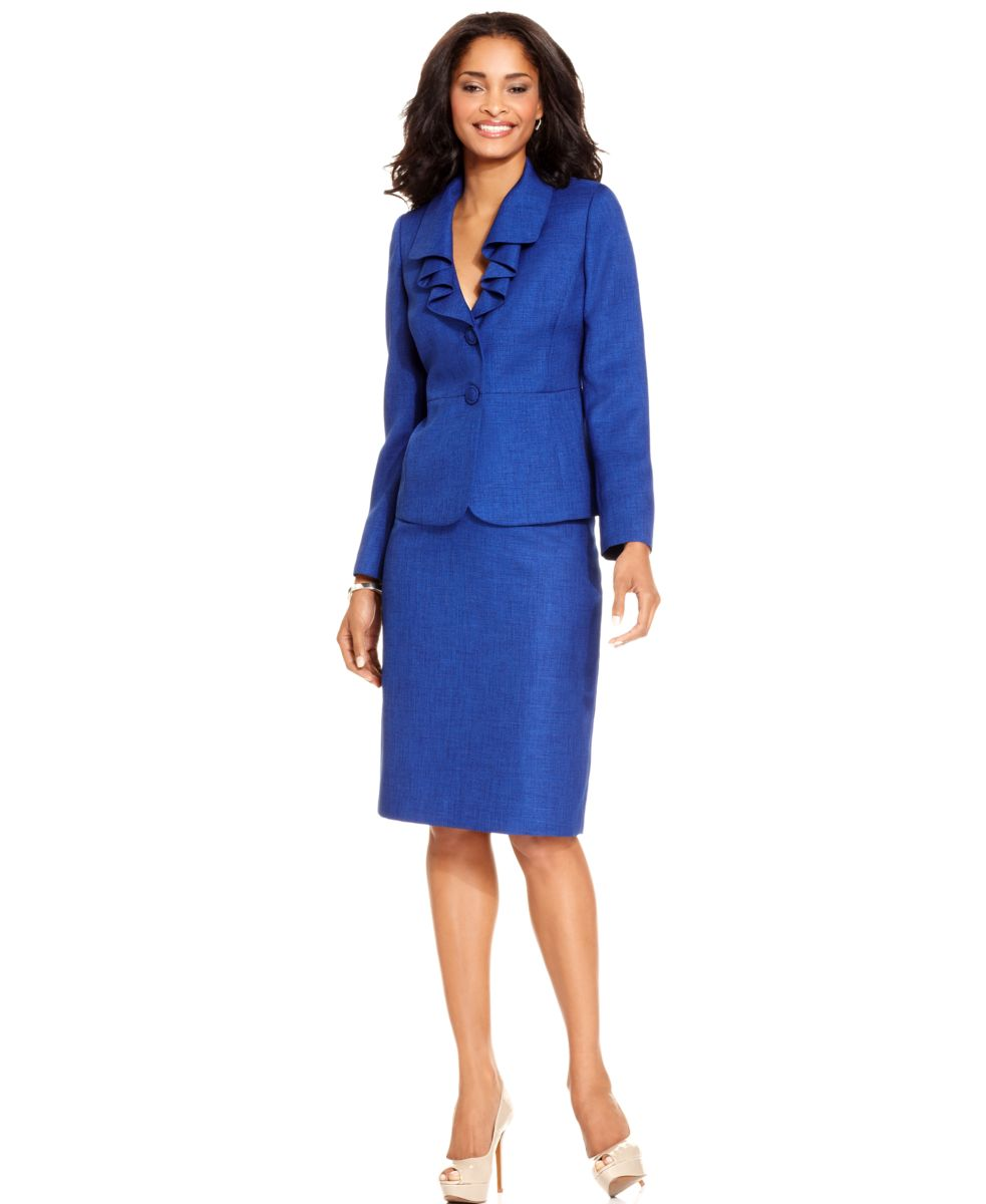 le suit new blue tweed ruffled collar jacket 2pc