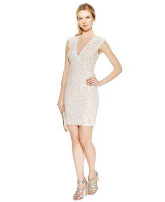 BETSY & ADAM  229 Womens New 1829 bluesh Lace Embellished Sheath Dress 6 B+B