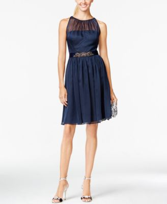 ADRIANNA PAPELL $159 Womens New 1025 Navy Pleated Embellished Sheer Dress 6 B+B