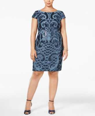 ADRIANNA PAPELL  damen New 1047 Navy Sequined Knitted Dress 24W Plus B+B