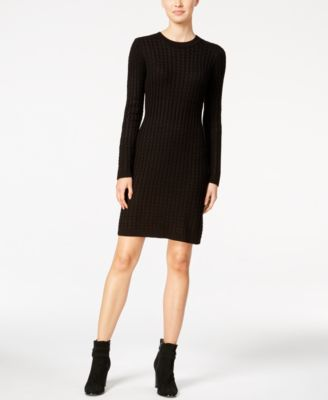 2f8f929b9ad6 Calvin Klein Women's Crew Neck Cable Knit Sweater Dress Regular M Black