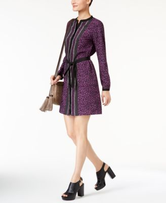 18bc71186949 MICHAEL KORS $140 Womens New 1096 Purple Animal Print Shift Dress XS ...