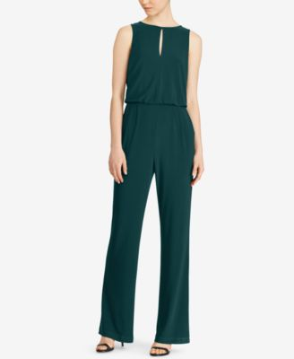 RALPH LAUREN  135 Womens New 1140 Green Cinched Waist Sleeveless Jumpsuit 4 B+B