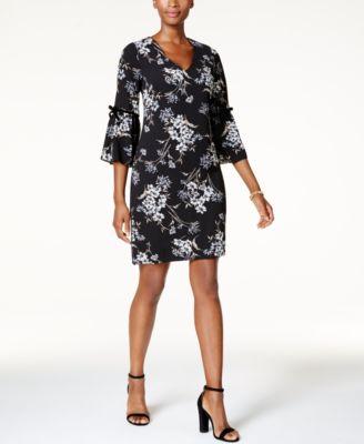 211f2e182ce96 JESSICA HOWARD  89 Womens Black Floral Flutter-sleeve Shift Dress 6 Petites  B+B