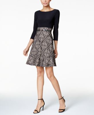 a39e63898fdf9 JESSICA HOWARD $99 Womens Black Printed Lace Fit + Flare Dress 14 ...