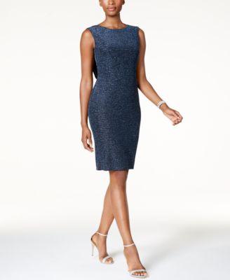 a12dd04640875 Jessica Howard Womens Blue Metallic Sleeveless Cocktail Dress 12 BHFO 2715