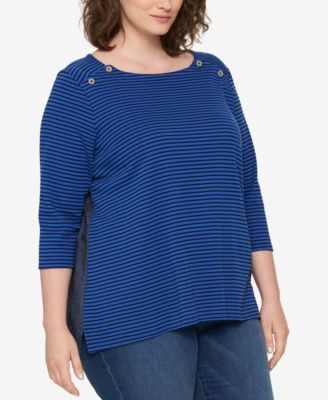 ef877d54da2 TOMMY HILFIGER  49 Womens New 1364 Blue Striped 3 4 Sleeve Top 2X ...