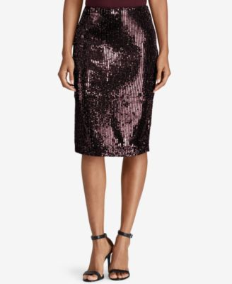 RALPH LAUREN  295 Womens New 1374 Burgundy Sequined Pencil Skirt 2 B+B