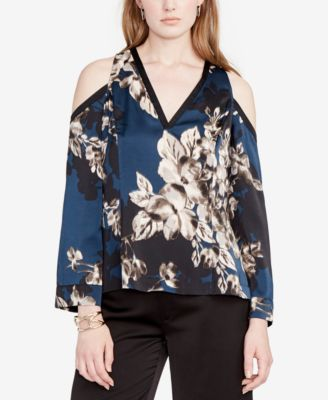 6a191669268688 RACHEL ROY  89 Womens New 1104 Navy Floral Cold Shoulder Top M B+B ...