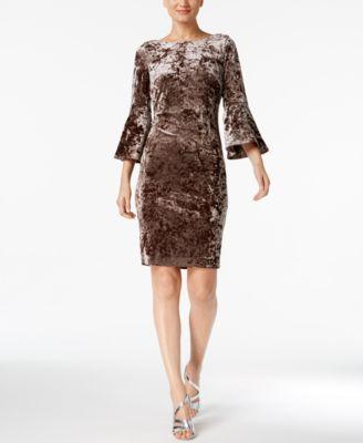 70d1daee459 CALVIN KLEIN  129 Womens New 1249 Brown Velvet Bell Sleeve Sheath Dress 2  B+B