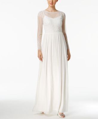 ADRIANNA PAPELL  249 Womens New 1079 White Beaded Illusion Gown Dress 10 B+B