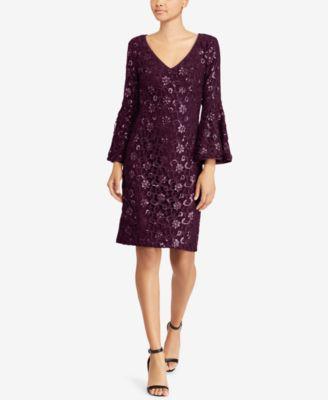 RALPH LAUREN Womens New 1020 Purple Floral Textured Long Sleeve Dress 8 B+B