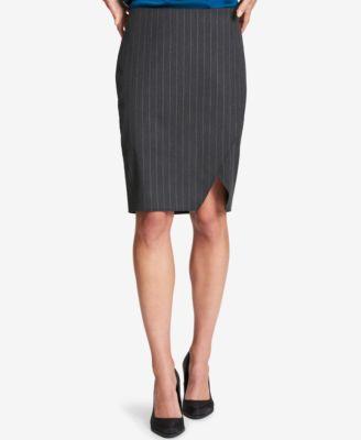 c0fcc7cf4 DKNY Womens Gray Professional Knee-length Pinstripe Pencil Skirt 4 ...