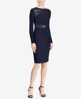 RALPH LAUREN  149 Womens New 1180 Navy Faux Leather Trimmed Dress 8 Petites B+B