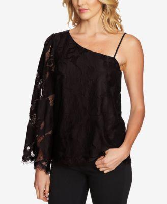 c367b57ae4a 1. STATE $89 Womens 1038 Black One-shoulder Lace Asymmetrical Top XL ...