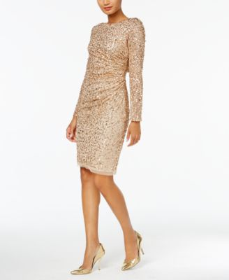 ADRIANNA PAPELL  damen 1288 Gold Sequined Ruched Drape Back Dress 10 B+B