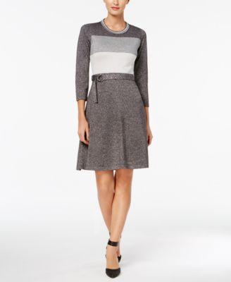 86664947fddf CALVIN KLEIN  134 Womens Gray Color Block Metallic Belted Dress S Petites  B+B