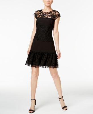 Msk Womens 1006 Black Lace Cap Sleeve Fit Flare Dress 6 B B Ebay