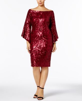 BETSY & ADAM  damen New 1091 Burgundy Sequined Bell Sleeve Dress 14W B+B