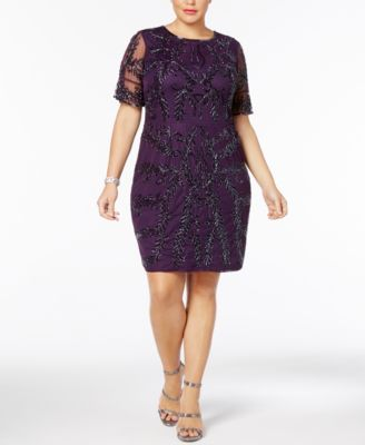 ADRIANNA ADRIANNA ADRIANNA PAPELL  219 Womens Purple Sequined Embellished Shift Dress 16W Plus B+B 2cb38d