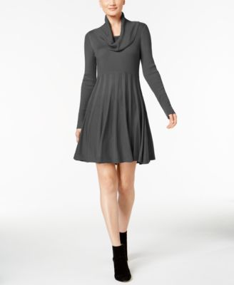 0aa23cc44fb CALVIN KLEIN  134 Womens New 1278 Gray Cowl Neck Fit + Flare Dress L ...
