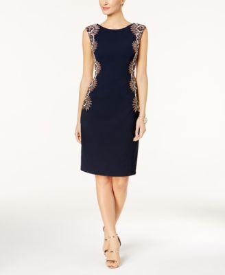 ADRIANNA PAPELL  249 Womens New 1214 Navy Embellished Sheath Dress 2 B+B