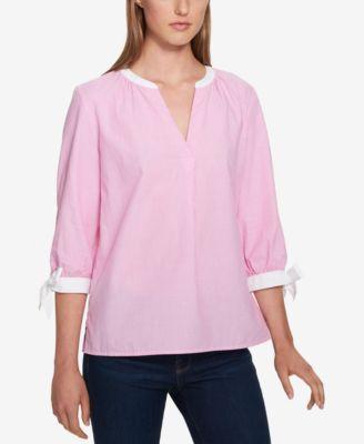 Buy Tommy Hilfiger Womens 1393 Pink Pinstripe Tie 3 4 Sleeve Top XL ... 03639dde5