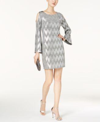 760023f11c777 JESSICA HOWARD  99 Womens Silver Metallic Cold Shoulder Sheath Dress ...