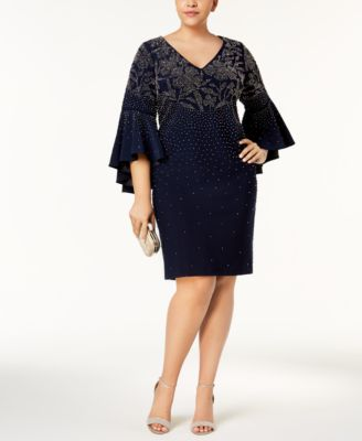 BETSY & ADAM  319 Womens New 1037 Navy Embellished Dress 14W Plus B+B