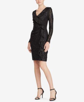 eda1e259 RALPH LAUREN Womens New 1301 Black Sequined Long Sleeve Dress 6 ...