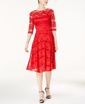 f28cfa3bf86c8 Sangria Sz 8 Red Illusion Sequin Lace Fit-and-flare Midi Women Dress ...