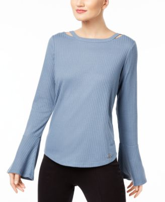 1a2f392895 MICHAEL KORS  84 Womens New 1041 Blue Knit Ribbed Cut Out Bell Sleeve Top S  B