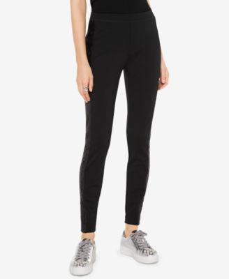 d47ac8668dbf7 MICHAEL KORS $110 Womens 1160 Black Lace Trim Casual Skinny Leggings ...