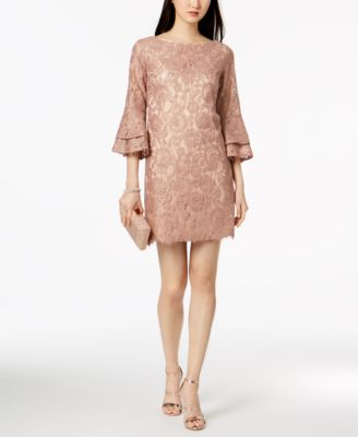Vince Camuto Womens 1151 Pink Lace Bell Sleeve Shift Dress 6 B B