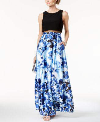 BETSY & ADAM  damen New 1288 Blau Solid & Floral-p Gown 12 Petites B+B