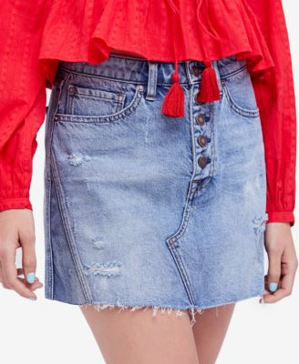 4690a3c45e FREE PEOPLE $60 Womens New 1162 Blue Frayed Denim Mini A-Line Skirt 29 Waist