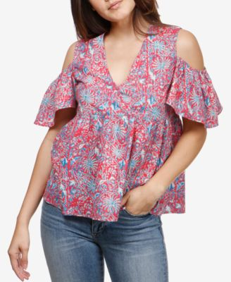 c1a275e271b036 LUCKY BRAND  70 Womens New 1201 Pink Printed Cold Shoulder Top M B+B ...