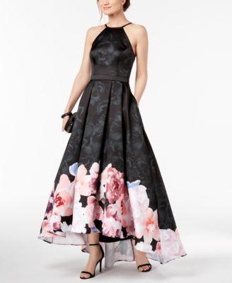 XSCAPE  damen New 1119 schwarz Houndstooth Floral Print Gown Dress 4 B+B