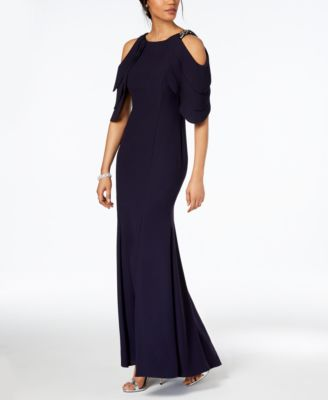 BETSY & ADAM  damen New 1042 Navy Cold Shoulder Gown 10 Petites B+B