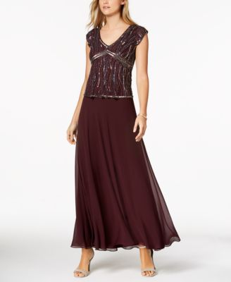 JKARA  damen New 1214 Burgundy Sequined Cap Sleeve Drop Waist Dress 8 B+B