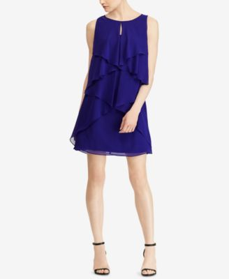 RALPH LAUREN  150 Womens New 1072 bluee Ruffled Sleeveless Shift Dress 6 B+B