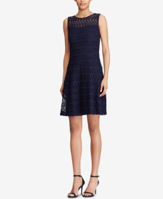 RALPH LAUREN  Womens New 1196 Navy Eyelet Sleeveless Dress 2 Petites B+B