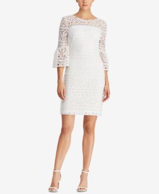 RALPH LAUREN  damen New 1194 Ivory Lace Bell Sleeve Dress 8 Petites B+B