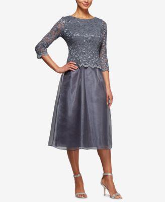 ALEX EVENINGS $169 Womens New 1355 Gray Lace 3/4 Sleeve Dress 10 Petites B+B