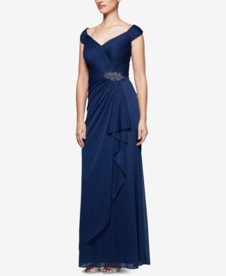 ALEX EVENINGS  damen New 1387 Blau Ruched Pleated Beaded Leaf Dress 18 B+B