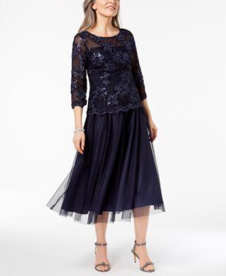 ALEX EVENINGS  damen New 1358 Navy Sequined Illusion Dress 18 B+B