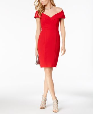 XSCAPE  damen New 1226 rot Off Shoulder Knee Length Sheath Dress 4 B+B